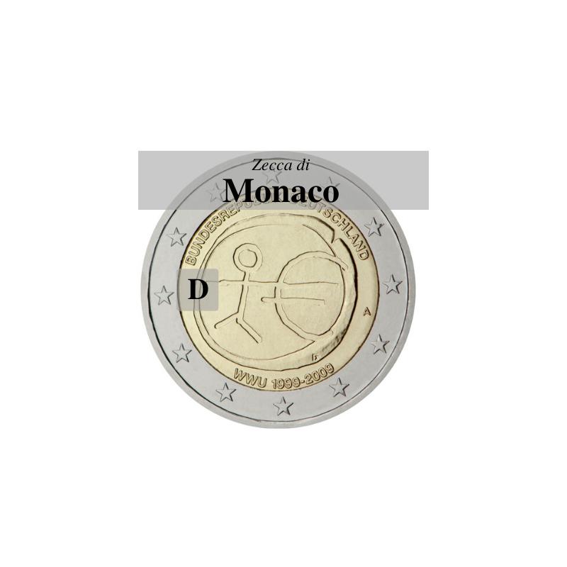 Germania 2009 - 2 euro commemorativo 10° anniversario dell'Unione Economica e Monetaria - zecca di Monaco D