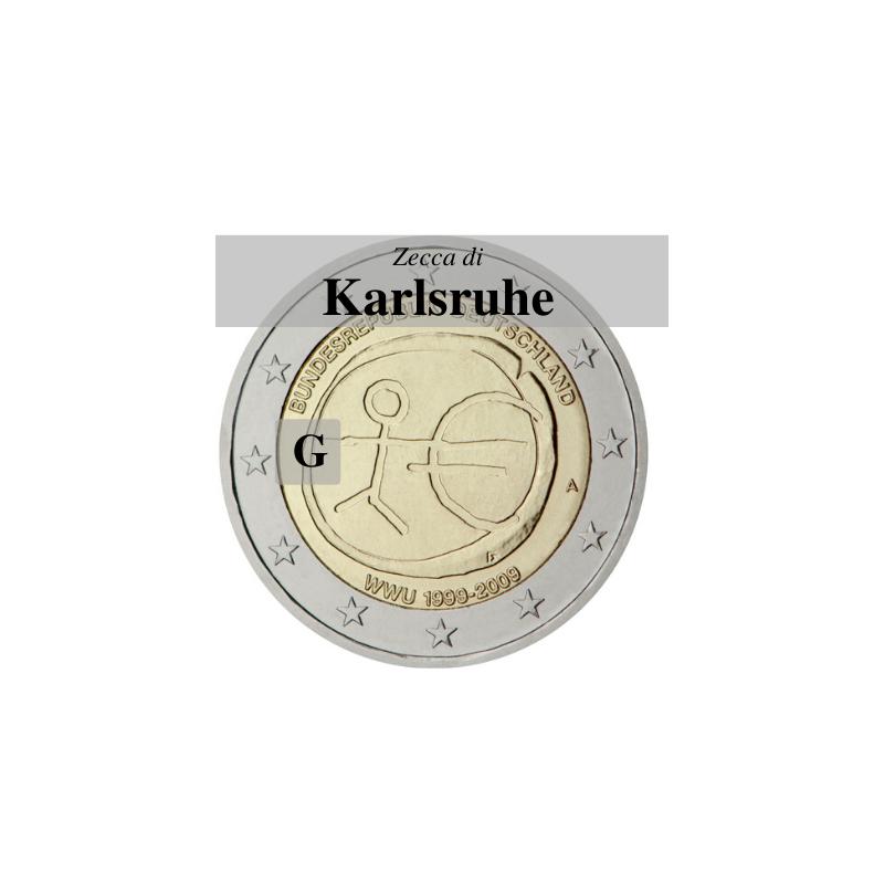 Germania 2009 - 2 euro commemorativo 10° anniversario dell'Unione Economica e Monetaria - zecca di Karlsruhe G