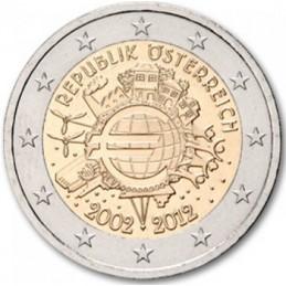 Austria 2012 - 2 euro commemorativo 10° anniversario dell'introduzione in circolazione delle banconote e monete euro.