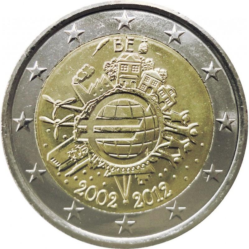 Belgio 2012 - 2 euro commemorativo 10° anniversario dell'introduzione in circolazione delle banconote e monete euro.