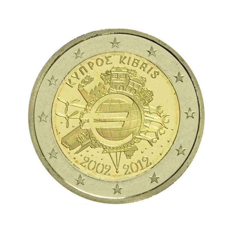 Cipro 2012 - 2 euro commemorativo 10° anniversario dell'introduzione in circolazione delle banconote e monete euro.
