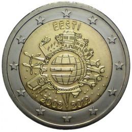 Estonia 2012 - 2 euro commemorativo 10° anniversario dell'introduzione in circolazione delle banconote e monete euro.