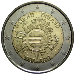 Finlandia 2012 - 2 euro commemorativo 10° anniversario dell'introduzione in circolazione delle banconote e monete euro.