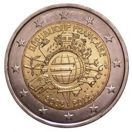 Francia 2012 - 2 euro commemorativo 10° anniversario dell'introduzione in circolazione delle banconote e monete euro.