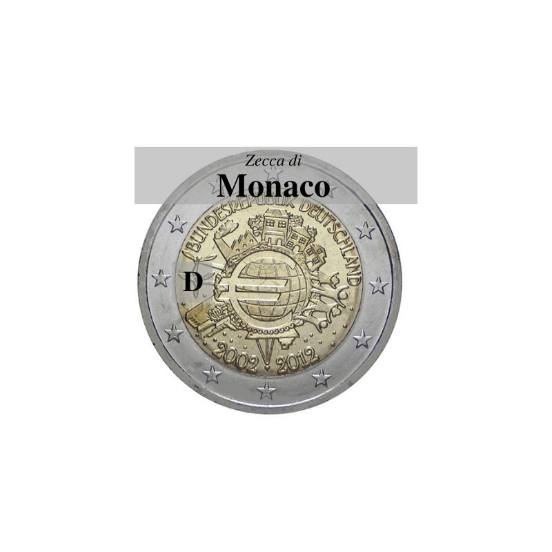 Germania 2012 - 2 euro commemorativo 10° anniversario dell'introduzione delle banconote e monete euro - zecca di Monaco D