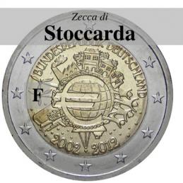Germania 2012 - 2 euro commemorativo 10° anniversario dell'introduzione delle banconote e monete euro - zecca di Stoccarda F