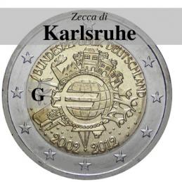 Germania 2012 - 2 euro commemorativo 10° anniversario dell'introduzione delle banconote e monete euro - zecca di Karlsruhe G