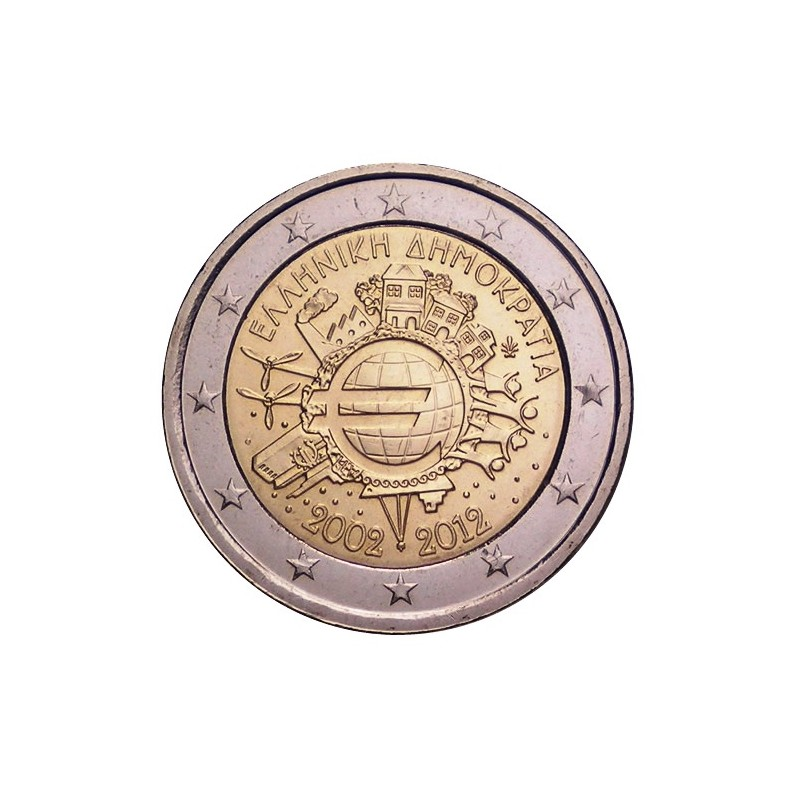 Grecia 2012 - 2 euro commemorativo 10° anniversario dell'introduzione in circolazione delle banconote e monete euro.