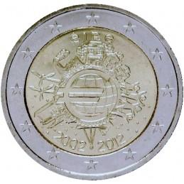 Irlanda 2012 - 2 euro commemorativo 10° anniversario dell'introduzione in circolazione delle banconote e monete euro.