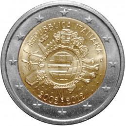 Italia 2012 - 2 euro commemorativo 10° anniversario dell'introduzione in circolazione delle banconote e monete euro.