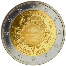 Lussemburgo 2012 - 2 euro commemorativo 10° anniversario dell'introduzione in circolazione delle banconote e monete euro.