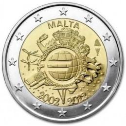 Malta 2012 - 2 euro commemorativo 10° anniversario dell'introduzione in circolazione delle banconote e monete euro.