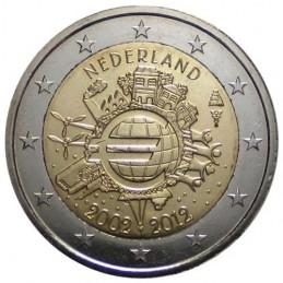 Olanda 2012 - 2 euro commemorativo 10° anniversario dell'introduzione in circolazione delle banconote e monete euro.
