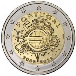 Portogallo 2012 - 2 euro commemorativo 10° anniversario dell'introduzione in circolazione delle banconote e monete euro.