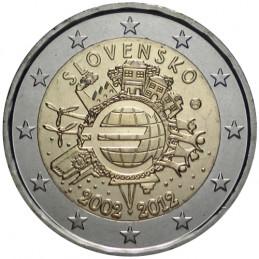 Slovacchia 2012 - 2 euro commemorativo 10° anniversario dell'introduzione in circolazione delle banconote e monete euro.