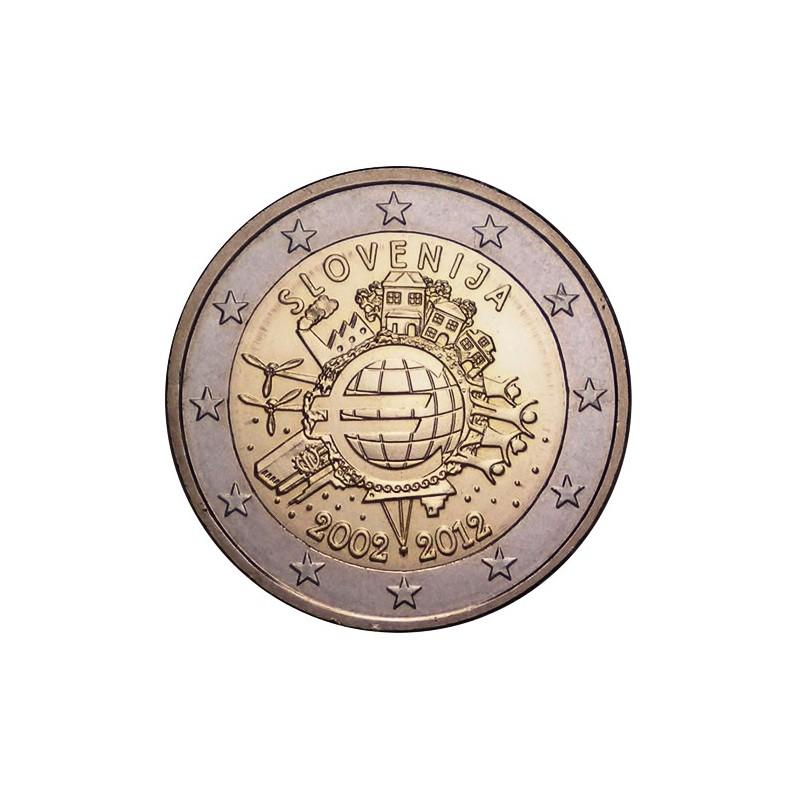 Slovenia 2012 - 2 euro commemorativo 10° anniversario dell'introduzione in circolazione delle banconote e monete euro.