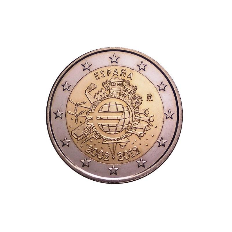 Spagna 2012 - 2 euro commemorativo 10° anniversario dell'introduzione in circolazione delle banconote e monete euro.