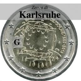 Germania 2015 - 2 euro commemorativo 30° anniversario della Bandiera Europea - zecca di Karlsruhe G